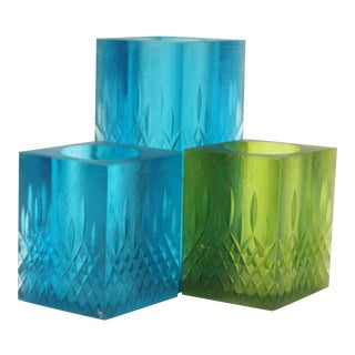 Mid-Century Modern Sascha Brastoff Cast Resin Vases / Candle Holders - Set of 3