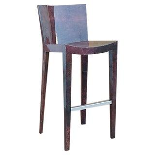 Karl Springer Lacquered Goatskin Barstool For Sale