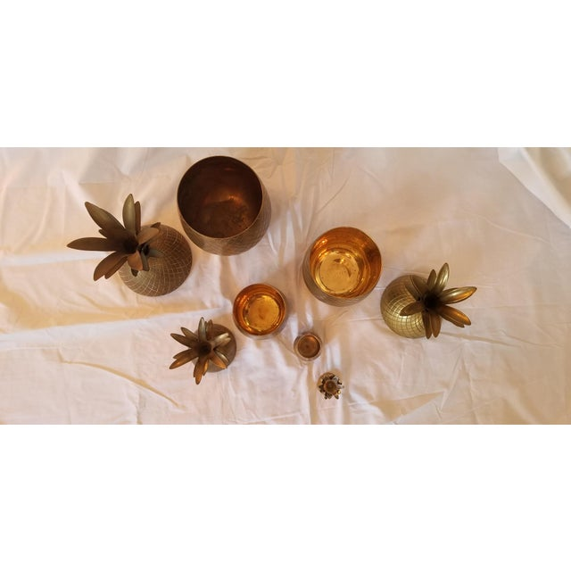 Metal 1970s Vintage Brass Pineapples - Set of 4 For Sale - Image 7 of 8