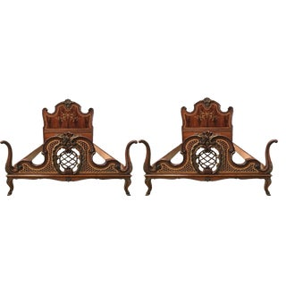 1930s Venetian Baroque Twin Marquetry & Carved Walnut Beds - A Pair For Sale