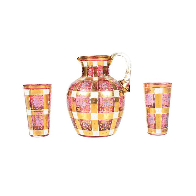 Bohemian Antique Glass Pitcher and 2 Glasses - Set of 2 For Sale In Los Angeles - Image 6 of 6