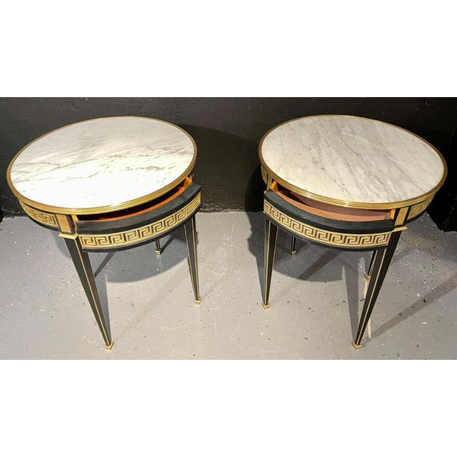 Metal Jansen Style Bouliotte / End Tables Bronze Mounted - a Pair For Sale - Image 7 of 13