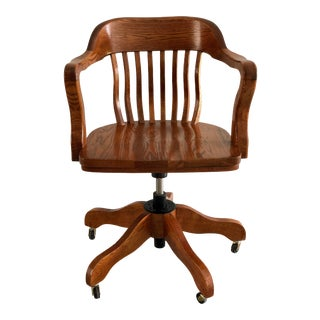 Antique White Clad Simmons Hardware Co. Solid Oak Wood Banker's Swivel Chair For Sale