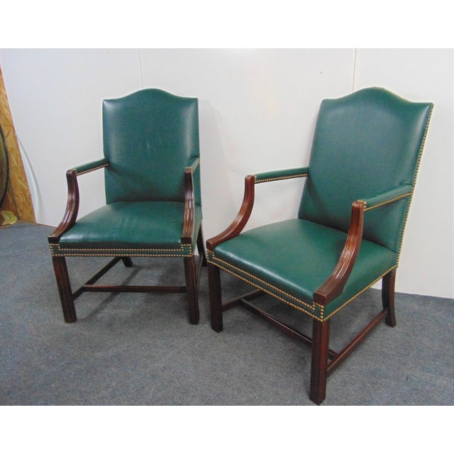Hickory Chair Co Mahogany Leather Library Chairs - a Pair For Sale - Image 9 of 9