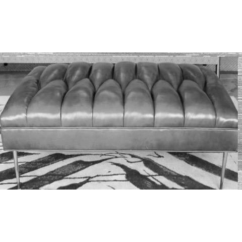 Contemporary Henri Grey Leather Bench For Sale - Image 3 of 4