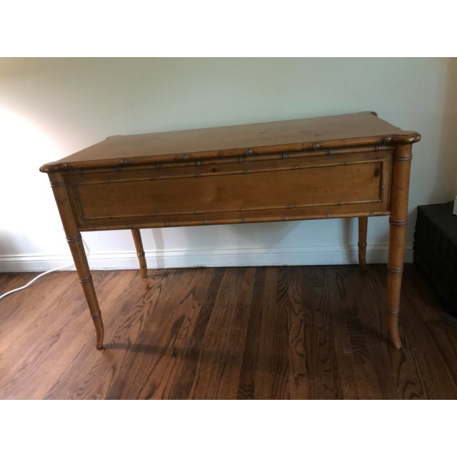 Vintage Ethan Allen British Colonial desk or vanity with leather bench and vanity mirror with drawers. Very solid and...