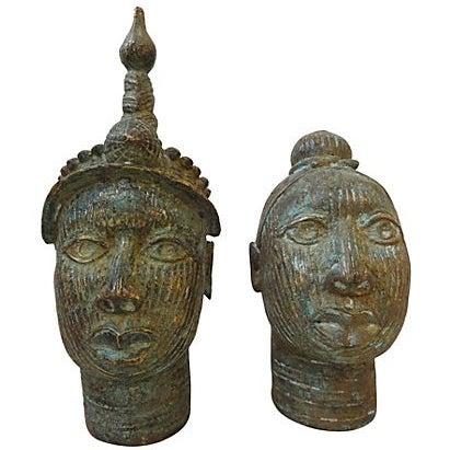 African King & Queen Benin Bronze Heads - Image 1 of 7