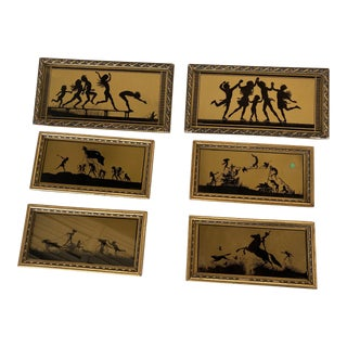 """Antique """"The Four Seasons"""" Silhouette Print in Original Frame by Fidus, Set of Six For Sale"""