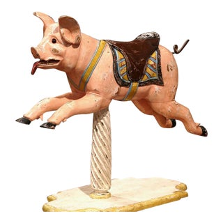 19th Century French Carved Painted Wooden Carousel Pig For Sale
