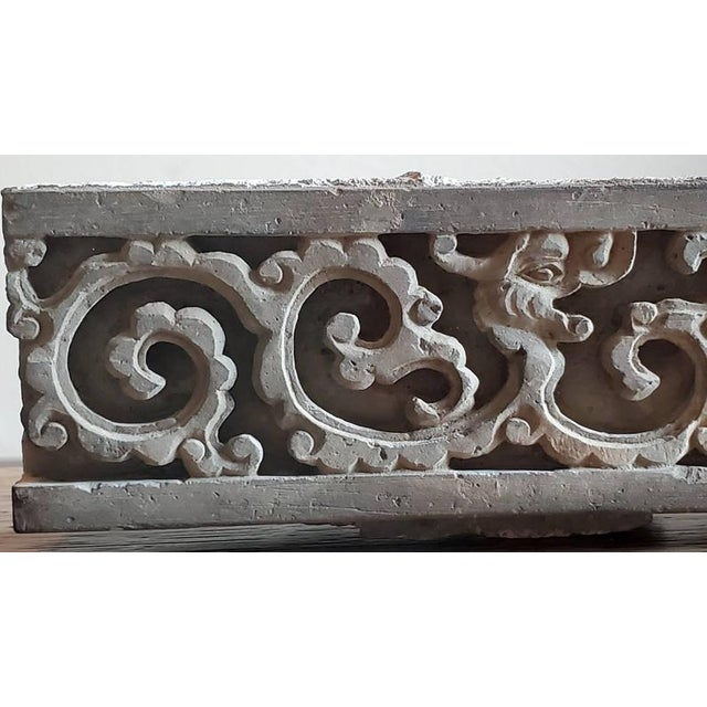 19th Century Antique Asian Temple Architectural Relief Carved Stone Frieze Panel For Sale - Image 5 of 13