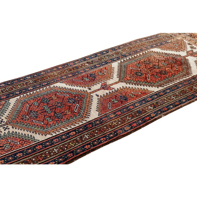 Red Mid 20th Century Vintage Runner Rug For Sale - Image 8 of 9
