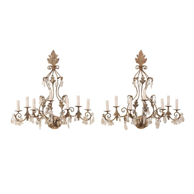 Pair of Mid-Century Seven-Light Crystal and Iron Sconces With Leaf Crest Tops For Sale - Image 11 of 11