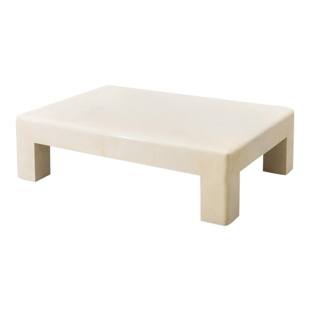Lacquered Goatskin Low Table, Usa For Sale