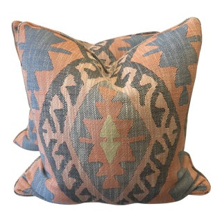 "Large Scale Woven Ikat in Multi 22"" Pillows-A Pair For Sale"