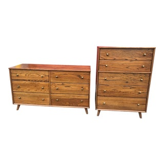 1950s Mid Century Modern Oak Modern Dressers - 2 Pieces For Sale