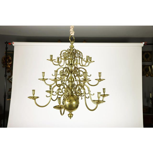 British Colonial A Dutch Brass triple tier, 18 light Chandelier, circa 1860 For Sale - Image 3 of 8