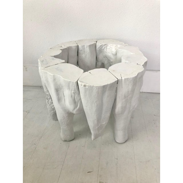 Late 20th Century Bruailist White Cypress Root Sculpted Side Table For Sale - Image 5 of 8