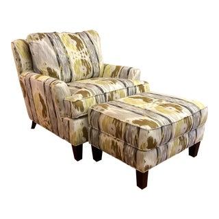 "Modern Norwalk ""Orleans"" Print Chair & Matching Ottoman For Sale"