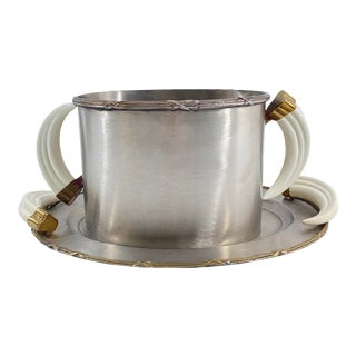 Vintage Steel and Faux Horn Ice Bucket With Tray For Sale