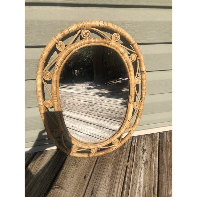 Hollywood Regency Boho Chic Wicker Peacock Mirror For Sale - Image 10 of 13