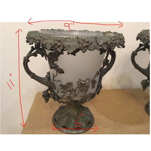 Gray 19th Century Antique Glass and Metal Urns - a Pair For Sale - Image 8 of 9