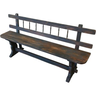 European Antique Painted Bench With Stretcher