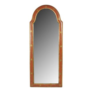 Late 19th Century Queen Anne Style Red Lacquer Gilt Decorated Mirror For Sale