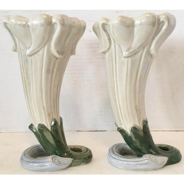 Green Fitz and Floyd Art Nouveau Vases 1978 For Sale - Image 8 of 8