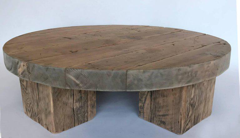 Round Rustic Modern Wood Low Coffee Table   Image 7 Of 7