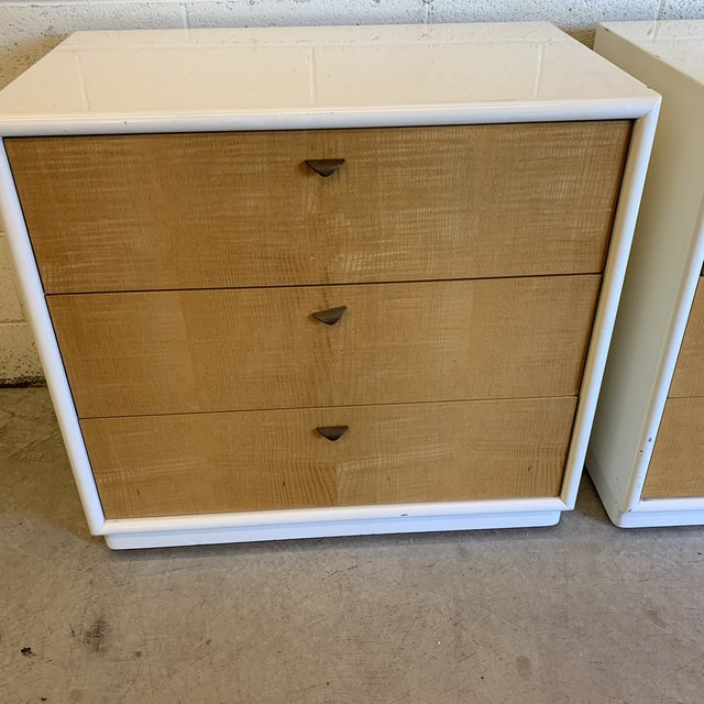 Contemporary White Lacquer & Burl Wood Chests - a Pair For Sale - Image 10 of 13