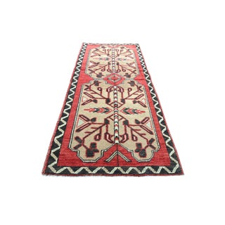 1960s Vintage Turkish Paladin Semi-Antique Handwoven Small Red Rug - 1′10″ × 3′6″ For Sale