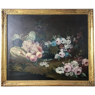 Early 20th Century Flowers and Fruits Still Life Painting on Canvas For Sale