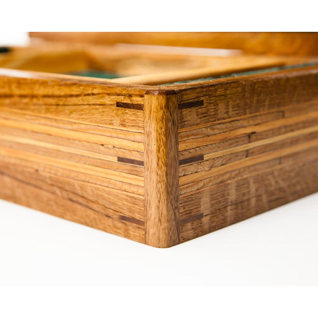 Mid-Century Modern Scandinavian Lawrence & Scott Reclaimed Wood One-Of-A-Kind Lined Jewelry Box For Sale - Image 3 of 12
