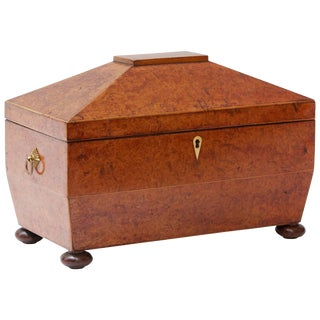 1880s Large Yew Wood English Tea Caddy With Three Compartments For Sale
