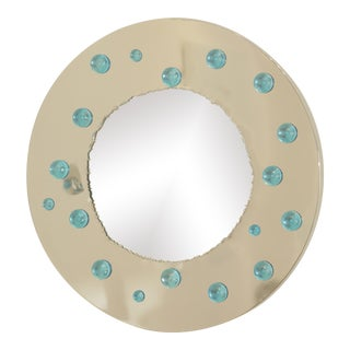Circular Italian Polished Steel Mirror With Blue Glass Cabochons For Sale