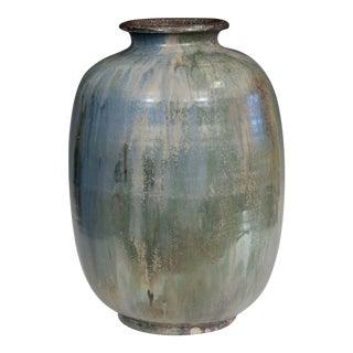 1930s Roger Guerin French Belgian Studio Art Pottery Crystalline Iridescent Glaze Vase For Sale