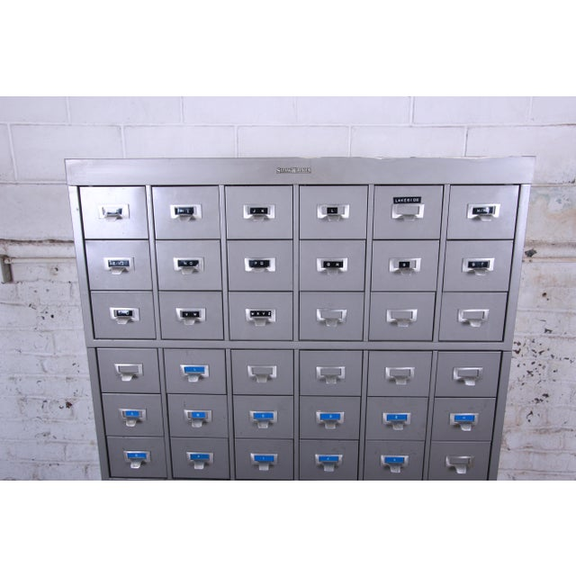 Mid 20th Century Shaw Walker Mid-Century 54-Drawer Metal Library Card Catalog For Sale - Image 5 of 13