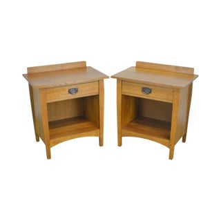 Stickley Mission Oak Pair of 1 Drawer Nightstands For Sale