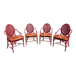 Vintage McGuire Louis XVI Double Cane Balloon Back Rattan Dining Chairs - Set of 4 For Sale