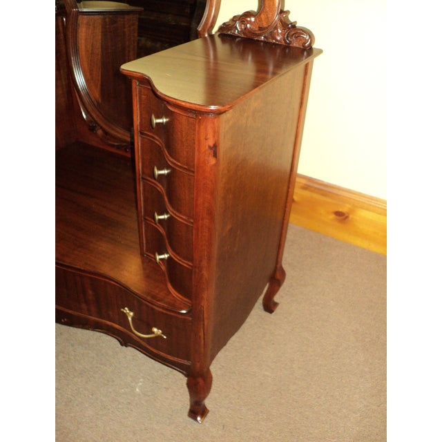 Traditional Antique Mahogany Jean Harlow Vanity For Sale - Image 3 of 10