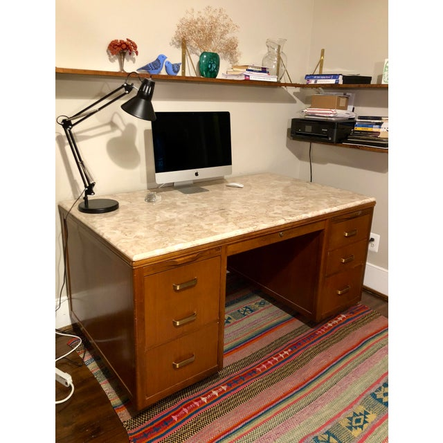 "Midcentury modern conference size executive desk with gorgeous beige/light pink marble top. Has original ""Leopold, made in..."