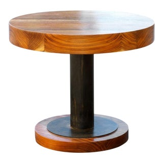 Walnut Slab and Steel Side Table by Rehab Vintage Interiors, Custom Made to Otder For Sale