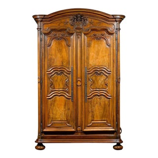 French Provincial Walnut Armoire For Sale