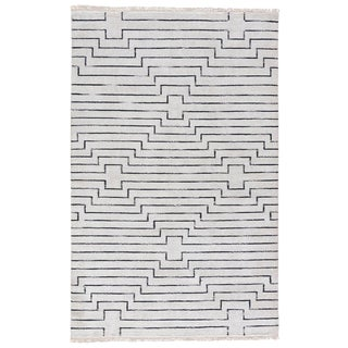Jaipur Living Alloy Handmade Geometric White / Black Area Rug - 8′ × 11′ For Sale