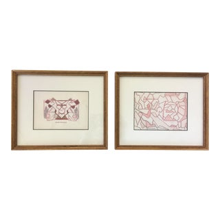 1970s Vintage Geometric Abstract Signed Drawings - A Pair For Sale