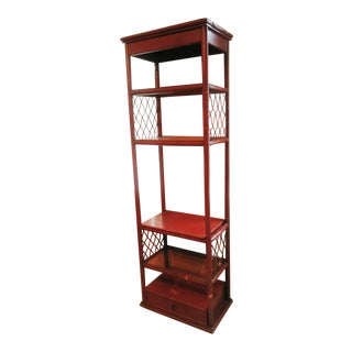 Tall Palm Beach Regency Red Faux Bamboo Wood Etagere Shelf Cabinet For Sale