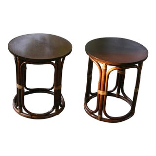 Round Rattan Tables With Wood Tops-A Pair For Sale