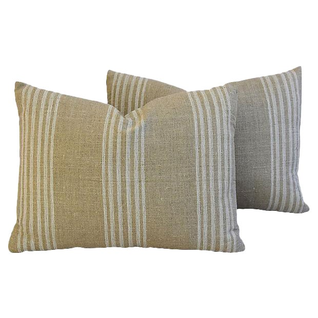 Custom Tan & White French Ticking Feather & Down Pillows - A Pair - Image 10 of 11