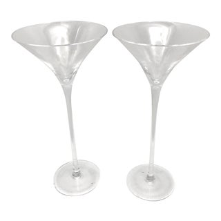"William Yeoward ""Lillian"" Crystal Martini Glasses - A Pair"