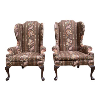 Queen Anne Floral Wingback Chairs, a Pair For Sale